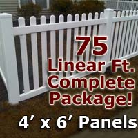 "75 ft Complete Solid PVC Vinyl Open Top Picket Fencing Package - 4' x 6' Fence Panels w/ 3"" Spacing"