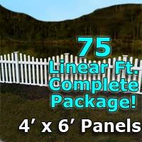 "75 ft Complete Solid PVC Vinyl Open Top Scallop Picket Fencing Package - 4' x 6' Fence Panels w/ 3"" Spacing"