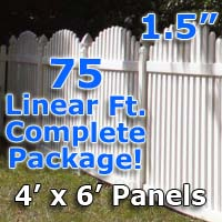 "75 ft Complete Solid PVC Vinyl Open Top Arch Picket Fencing Package - 4' x 6' Fence Panels w/ 1.5"" Spacing"