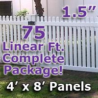 "75 ft Complete Solid PVC Vinyl Open Top Straight Picket Fencing Package - 4' x 8' Fence Panels w/ 1.5"" Spacing"