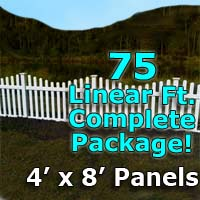 "75 ft Complete Solid PVC Vinyl Open Top Scallop Picket Fencing Package - 4' x 8' Fence Panels w/ 3"" Spacing"