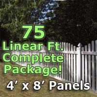 "75 ft Complete Solid PVC Vinyl Open Top Arched Picket Fencing Package - 4' x 8' Fence Panels w/ 3"" Spacing"