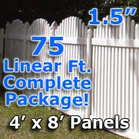 "75 ft Complete Solid PVC Vinyl Open Top Arch Picket Fencing Package - 4' x 8' Fence Panels w/ 1.5"" Spacing"
