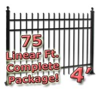 75 ft Complete Spear Top Residential Aluminum 4' High Fencing Package