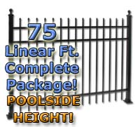 "75 ft Complete Spear Top Residential Aluminum 54"" Pool Fencing Package"