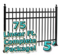 75 ft Complete Spear Top Residential Aluminum 5' High Fencing Package