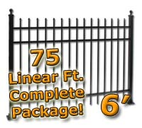 75 ft Complete Spear Top Residential Aluminum 6' High Fencing Package
