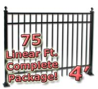 75 ft Complete Elegant Residential Aluminum 4' High Fencing Package