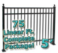 75 ft Complete Elegant Residential Aluminum 5' High Fencing Package