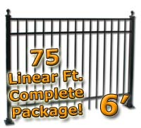 75 ft Complete Elegant Residential Aluminum 6' High Fencing Package