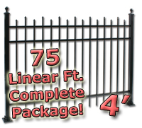 75 ft Complete Staggered Pickets Residential Aluminum 4' High Fencing Package