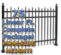 "75 ft Complete Staggered Pickets Residential Aluminum 54"" Pool Fencing Package"
