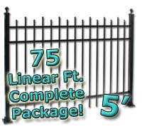 75 ft Complete Staggered Pickets Residential Aluminum 5' High Fencing Package