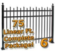 75 ft Complete Staggered Pickets Residential Aluminum 6' High Fencing Package