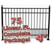 75 ft Complete Puppy Panel Residential Aluminum 4' High Fencing Package