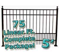 75 ft Complete Puppy Panel Residential Aluminum 5' High Fencing Package