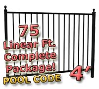 75 ft Complete Pool Code Residential Aluminum 4' High Fencing Package