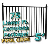 75 ft Complete Pool Code Residential Aluminum 5' High Fencing Package