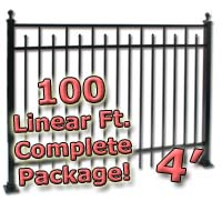 100 ft Complete Spear Smooth Top Residential Aluminum 4' High Fencing Package