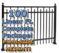 "100 ft Complete Spear Smooth Top Residential Aluminum 54"" Pool Fencing Package"