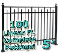 100 ft Complete Spear Smooth Top Residential Aluminum 5' High Fencing Package