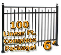 100 ft Complete Spear Smooth Top Residential Aluminum 6' High Fencing Package