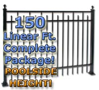 "150 ft Complete Spear Smooth Top Residential Aluminum 54"" Pool Fencing Package"