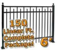 150 ft Complete Spear Smooth Top Residential Aluminum 6' High Fencing Package