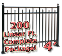 200 ft Complete Spear Smooth Top Residential Aluminum 4' High Fencing Package
