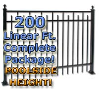 "200 ft Complete Spear Smooth Top Residential Aluminum 54"" Pool Fencing Package"