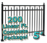 200 ft Complete Spear Smooth Top Residential Aluminum 5' High Fencing Package