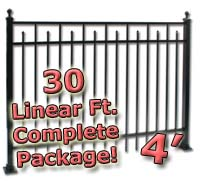 30 ft Complete Spear Smooth Top Residential Aluminum 4' High Fencing Package