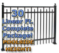 "30 ft Complete Spear Smooth Top Residential Aluminum 54"" Pool Fencing Package"