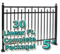 30 ft Complete Spear Smooth Top Residential Aluminum 5' High Fencing Package