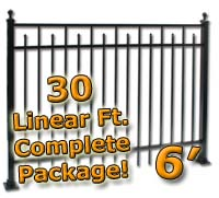 30 ft Complete Spear Smooth Top Residential Aluminum 6' High Fencing Package