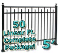 50 ft Complete Spear Smooth Top Residential Aluminum 5' High Fencing Package