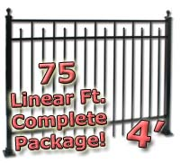 75 ft Complete Spear Smooth Top Residential Aluminum 4' High Fencing Package