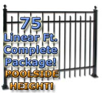 "75 ft Complete Spear Smooth Top Residential Aluminum 54"" Pool Fencing Package"