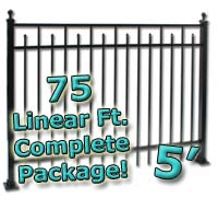 75 ft Complete Spear Smooth Top Residential Aluminum 5' High Fencing Package