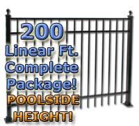 "200 ft Complete Elegant Residential Aluminum 54"" Pool Fencing Package"