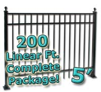 200 ft Complete Elegant Residential Aluminum 5' High Fencing Package