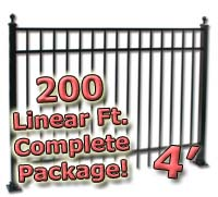 200 ft Complete Elegant Residential Aluminum 4' High Fencing Package