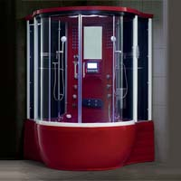 "Brand New Prestige Red Jetted Tub and Steam Shower Room - 57"" x 57"" x 87"""