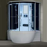 "Brand New 2013 Prestige White Jetted Tub and Steam Shower Room - 57"" x 57"" x 87"""