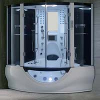 "Brand New Modern White Jetted Tub and Steam Shower Room - 64.1"" x 64.1"" x 87.8"""