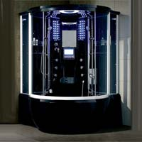 "Brand New Prestige Black Jetted Tub and Steam Shower Room - 57"" x 57"" x 87"""