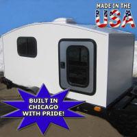 Camper Trailer Mini Camper Toy Hauler WonaDayGo 4' x 8' 1-2 Person Enclosed Camper Tailgate Trailer - Made in the USA