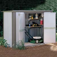 Ezee Locker 8' x 3' Arrow Small Backyard Storage Shed w/ Floor Frame Kit and Shelving Brackets