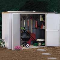 Arrow 8'W x 3'D Metal Garden Storage Shed Kit