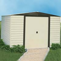 Arrow 10'W x 12'D Vinyl Coated Steel Dallas Shed with Foundation Kit, Shelving & Hooks